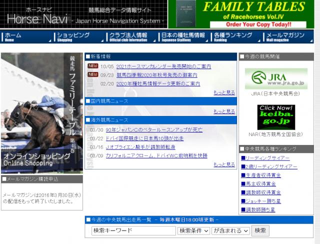 競馬総合データ情報サイト【ホースナビ】